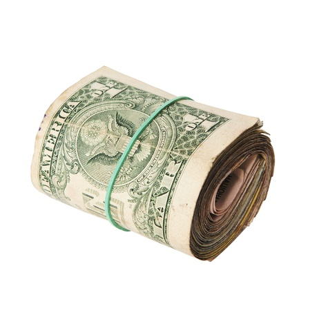 dirty roll of United States dollars isolated white Stock Photo - 16712498