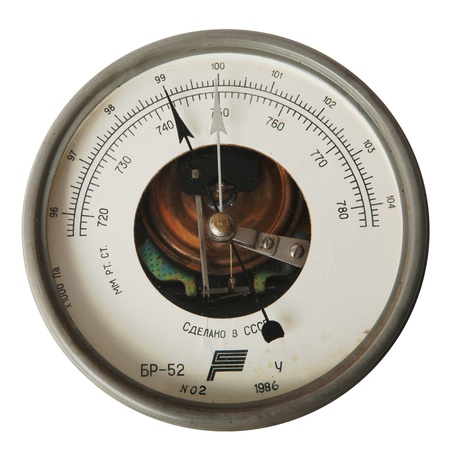 vintage aneroid barometer isolated over white background