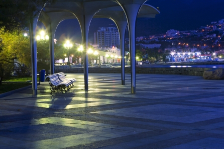 Night City Lights  Embankment in Yalta, Crimea photo