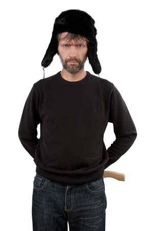 adult man in hat ear flaps holding axe isolated white Stock Photo - 17156129