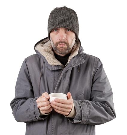adulto taza hombre que sostiene aislados en blanco