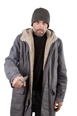 adult man holding knife isolated on white Stock Photo