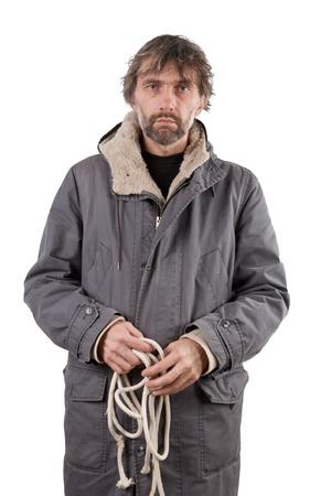 adult man holding rope isolated on white Stock Photo