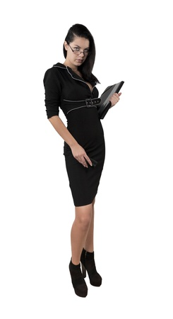 exacting: elegant business woman holding portfolio isolated white Stock Photo