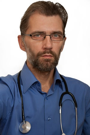 insightful: Portrait of doctor wearing glasses with stethoscope Stock Photo