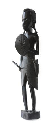 ebony wood: Statue of warrior masai carved from ebony - Tanzania, Africa