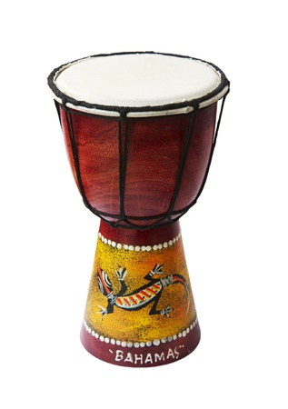 Rhythm percussion instrument bongo drum on white background photo