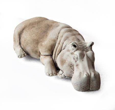 ivory hippo figurine, isolated on  white background Stock Photo