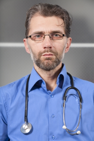 doctor with stethoscope and glasses in clinic Stock Photo - 18192555