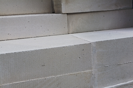 white aerated concrete blocks on building materials warehouse Stock Photo