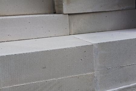 concrete block: white aerated concrete blocks on building materials warehouse Stock Photo
