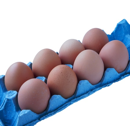 eggs in tray isolated on white background photo