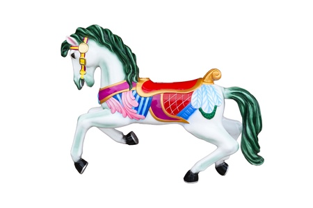 colorful Carousel Horse isolated on white background photo