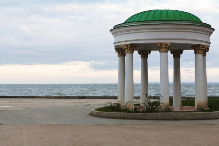 beautiful gazebo on the sea front promenade Stock Photo
