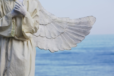 animator with angel wings on the shore of sea photo