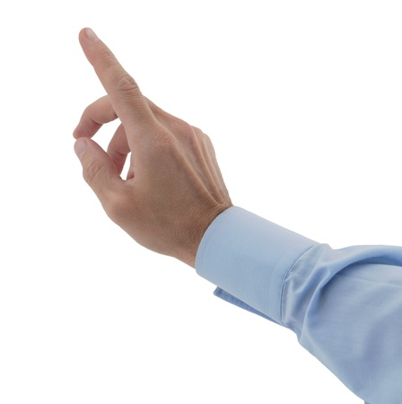 male hands finger on imaginary touchpad isolated white Stock Photo