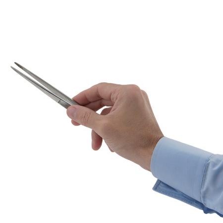 mans hand holding tweezers isolated on white photo