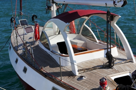 deck and board of cruising yacht at the marina