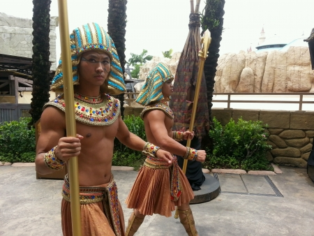 Egyptian Guards Patrolling The Street Universal Studio Singapore
