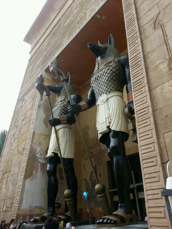 Two Statue of Anubis Guarding The Temple at Universal Studio Singapore Stock Photo