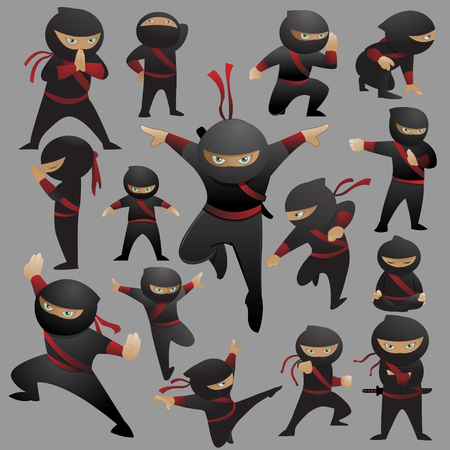 This is a collection of 15 ninja fighting poses and gestures.