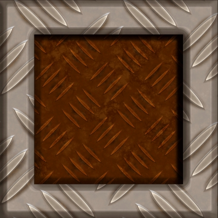 Rusty background framed with shiny metal Stock Photo