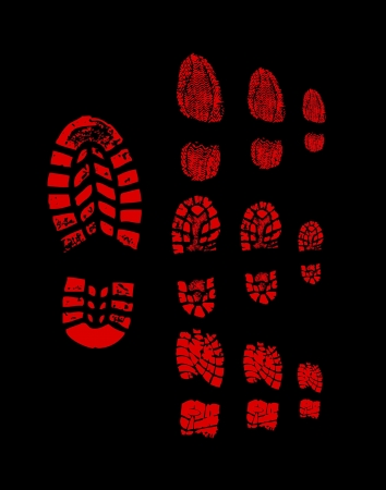 Red shoe print photo