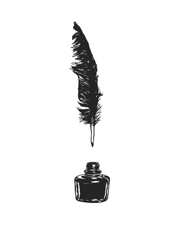 Feather and ink