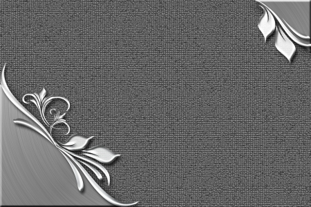Silver textured plate with flower and leafs Stock Photo - 17348145