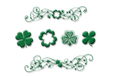 four leafed: Set of clovers Stock Photo