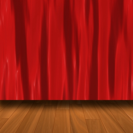 Red Curtain With Parquet Floor  photo