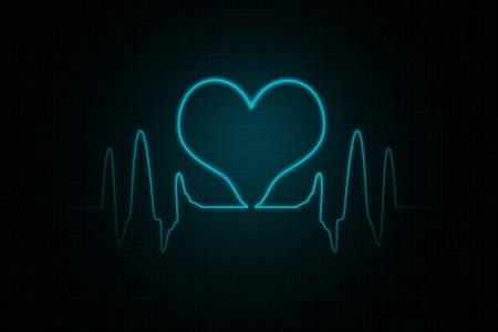 Heart-shaped blip on a medical heart monitor  photo