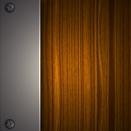 Wood Background With Metallic Plate  photo
