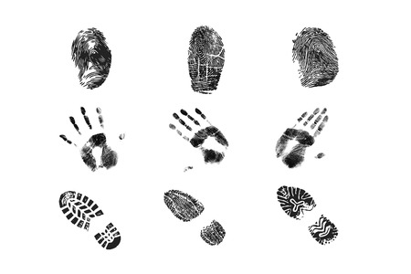 Set of shoe, hand and hand prints photo