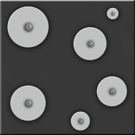 Abstract metal background with circles and screws