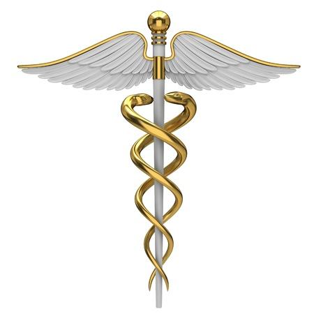상징: 흰색 배경에 고립 된 황금 신들의 사자 의료 기호.