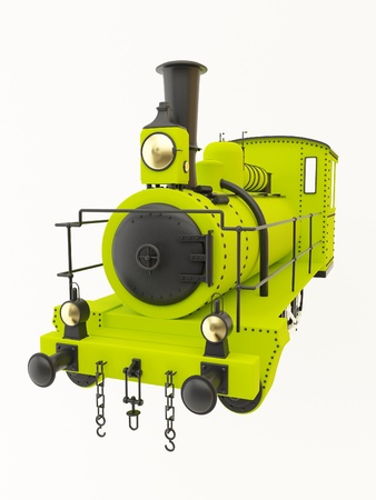 Green old steam train photo