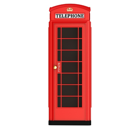 cabina telefono: La cabina de tel�fono brit�nica rojo aislado en un fondo blanco Foto de archivo