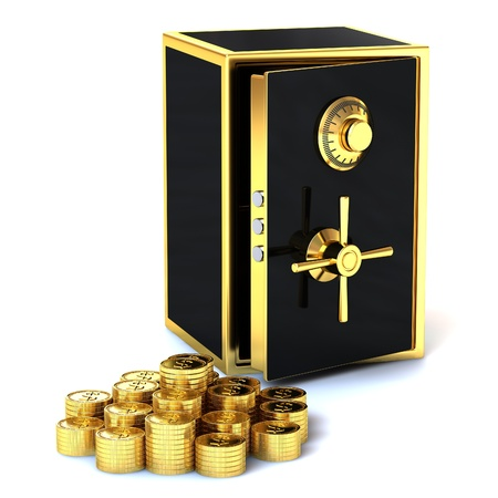 Safe with gold coins on a white background.