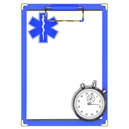 Blue medical clipboard and stopwatch isolated on a white background. photo