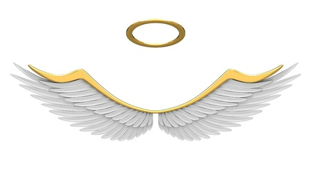 halo: Robes angel isolated on a white background. Stock Photo