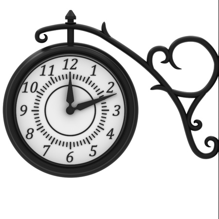 Street clock in the old style isolated on white background. Stock Photo