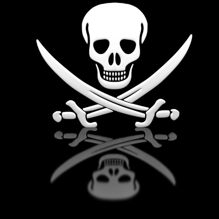 Jolly Roger skull and swords on the glossy surface. photo