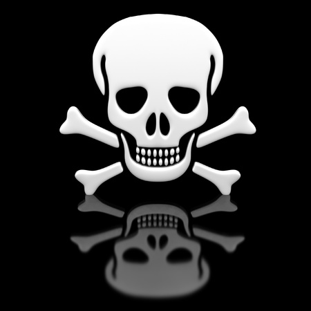 Skull and crossbones on a black glossy surface. photo
