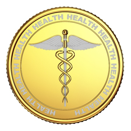 a physician: The coin with the image caduceus on white background.