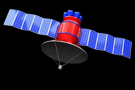 artificial satellite: The model of an artificial satellite of the earth on a black background.