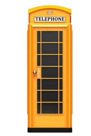 cabina telefonica: La cabina de teléfono británica naranja aislada sobre un fondo blanco