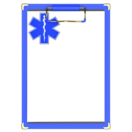 Blue Medical clipboard with the star of life on a white background.