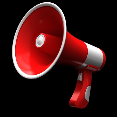 a public notice: Red megaphone on a black background.