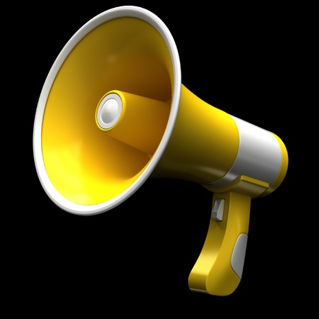 Yellow megaphone on a black background.